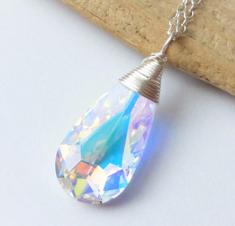 Swarovski Crystal Necklace Aurora Borealis Prism Wire Wrapped