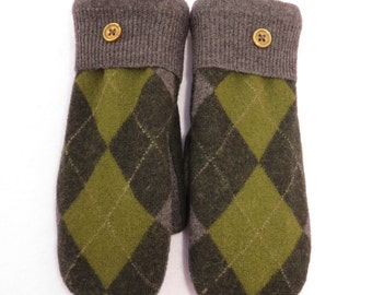 Felted Wool Sweater Mittens Fleece Lined Green and Gray Argyle