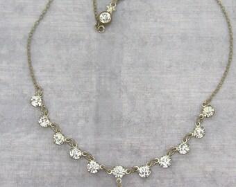 Vintage Rhinestone necklace, Bridal Necklace, Vintage Bride, Rhinestone Dangle necklace, Clear Rhinestone Bridal necklace, Wedding Necklace