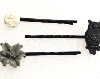 Set of 3 hair pins  mini hoot owl, lily, full bloom rose
