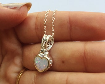 Created Opal Heart Necklace, Heart Necklace, Created Opal Necklace, Heart Charm, Heart Silver Necklace, Silver Necklace, Sterling Silver
