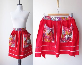 Vintage 1960s Apron / Bright Red Mod Flower Power Ric Rac Cotton Apron