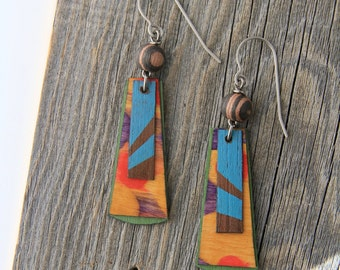 ENDLESS SUMMER / Wood Earrings / Women's Jewelry / Gifts For Her / Sustainable / Earrings / Acrylic Painting / Art / Art Jewelry