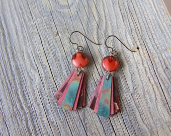 LOVE  / Wood Earrings / Women's Jewelry / Gifts For Her / Sustainable / Earrings / Acrylic Painting / Art / Art Jewelry