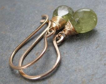 Vivid Green Grossular Garnet Earrings - Faceted Tear Drops - 14kt Gold FIlled Hook Earrings
