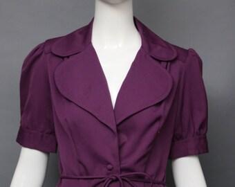 70s STRAWBERRY PLANT muted purple Bowie glam era shrunken fit pouf sleeve JACKET top blouse vintage 1970s