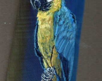 Golden Macaw Hand Painted on Macaw Feather, Framed