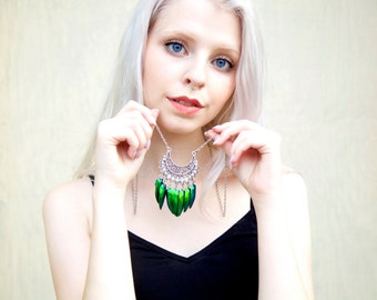 Khaleesi costume jewelry REAL green jewel beetle wings pendant Daenerys jewelry Green Elytra necklace silver scarab jewelry stag beetle