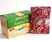 Tea Wallet Tea Bag Holder Asian Fans on Red