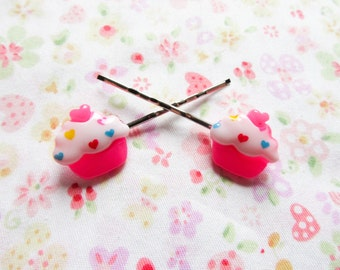 Pink Cupcake Hair Pins, Bobby Pins, Cute, Kawaii, Sweet Lolita, Cupcakes, Girls / Teen Gift