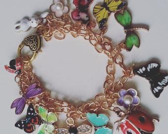 Secret garden, butterfly, dragonfly, ladybird, flowers, charm bracelet, mix colour, BRACELET, Summer, by NewellsJewels on etsy