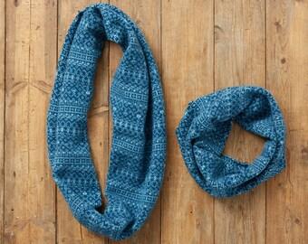 Diesel cowl neck, teal snood, Fair Isle snood, infinity scarf, loop scarf, wool snood, wool, circle scarf, cowl neck scarf, fair isle, uk