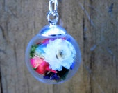 Real flower and moss glass globe necklace- Charm, pendant, silver necklace, jewelry, terrarium, floral, accessory. Boho, bohemian