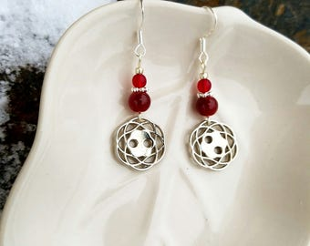 Maroon Button Earrings, Silver Button Red Sterling Earrings, Red Button Earrings, Button Earrings, Red Button Sterling Silver Earrings