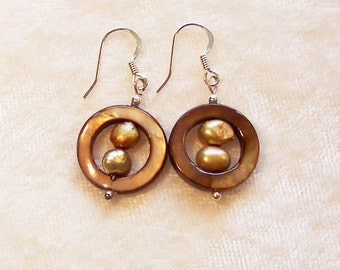 Brown Earrings, Brown Mother of Pearl Donut Earrings, Fresh Water Pearl Earrings, Clip ons Available