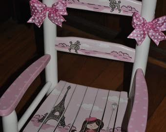 New For 2017-Oh La La-Paris-France-Eiffel Tower-Girls-Rocking Chair-Baby Shower Gift-Nursery Furniture-Child Chair-Baby Gift-Rocker-