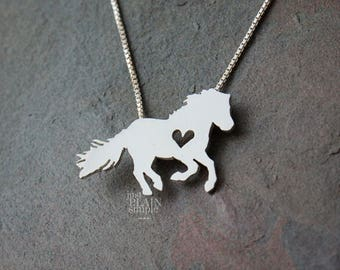 Icelandic Horse necklace, sterling silver, tiny silver hand cut pendant with heart