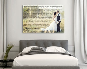 Anniversary Gift, Vows On Canvas, Gift For Her, Gift For Him, Custom Anniversary Gift
