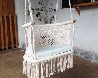 OVAL ADULT CHAIR- Macrame 100% Cotton-Ecru Color- Custom sizes and Colors available upon request. Optional Pillow-Ships from Nicaragua