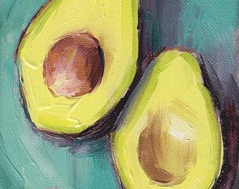 avocado kitchen art oil painting giclee print - 5x7 - Avocado Connection