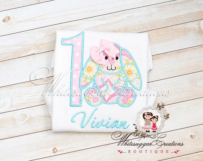 Girl Birthday Shirt - Vintage Easter Bunny Shirt - Baby Girl 1st Birthday - Easter Baby
