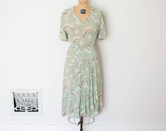 Vintage 1940s Dress - 40s Novelty Print Dress - The Molly