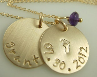 Handstamped Gold Footprint Necklace - Handmade Jewelry - Stamped Necklace