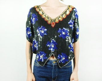 Black, Gold, Blue, and Red Sequined and Beaded Butterfly-Style Cropped Top || Blue Floral Top