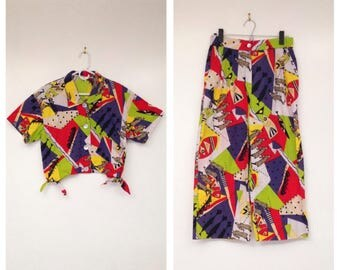 Amazing Vintage 1990s Two-Piece Abstract Art Print Top and Pants Set