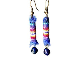 Guatemalan Fabric Earrings, Long Colorful Earrings, Artsy Jewelry, Fabric Jewelry, Fiber Art Jewelry,  Bead Dangle, Cornflower Blue, Rainbow