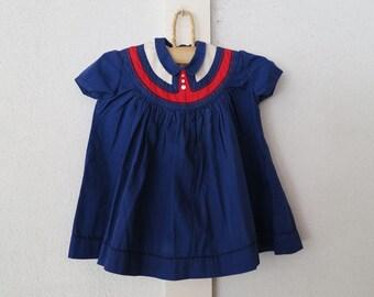 Little Girls Yoked Cotton DRESS in Royal Blue - Celeste NY - 1950s
