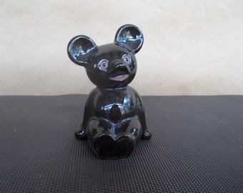 Mid Century Black Bear Cub Figurine Sitting