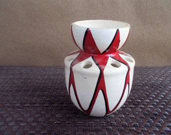 Vintage Handpainted Graphic Red and Cream Pottery Pencil Holder