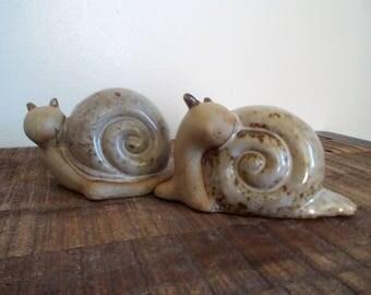 Pair of Vintage 1970s Ceramic Snail Figurines