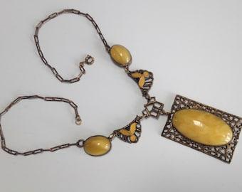 Czech Deco Brass Glass Filigree Yellow Enamel Pendant Necklace – 1920s Jewelry