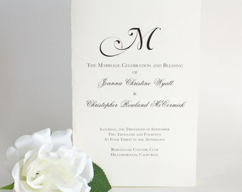 Printed Wedding Programs, Black and White Wedding Booklets, Classic Program Booklet, Monogram Program, The Natalie Wedding Program Sample
