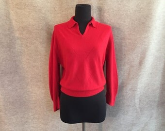 Vintage 50's Red Sweater, Long Sleeve Knit Pullover, Cropped Rockabilly Sweater Girl Style, Vegan, Women's Large, Bust 42