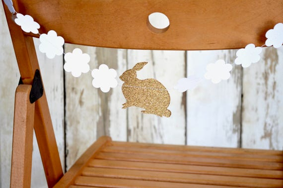 Bunny and Flowers Short Chair-Length Garland - white and gold glitter