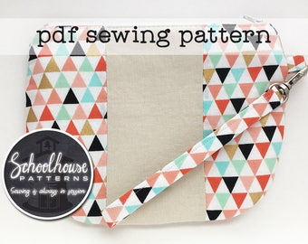 Miss Izzi's Patchy Pouch Wristlet sewing pattern in 2 sizes - wallet - clutch - pouch - detachable strap - PDF INSTANT DOWNLOAD