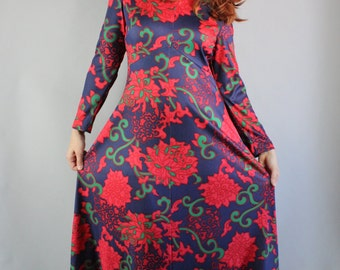 Vintage 70s 1970s Women's Saks Fifth Avenue Designer Mod Hippie Red Psychedelic Floral Long Sleeve Holiday Party Maxi Dress