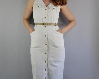 Cream Denim Wiggle Dress, Vintage 80s, Snap Buttons, Country Dress, Minimal, Retro 50s, Western Dress, Sleeveless, Hourglass, Size Medium