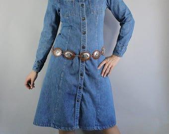 70s Denim Dress, Denim Shirtdress, Knee Length, Long Sleeve, Country Dress, Snap Button, Hippie, Rocknroll, Size Medium, FREE SHIPPING
