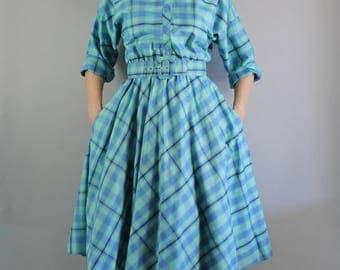 Summer Dress, 80s does 50s Womens Blue Green Plaid Shirtdress, Shirtwaist, Day Dress, vlv, 50s Secretary, Size Medium, FREE SHIPPING