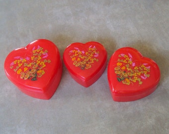 Set of Three (3) Vintage Plastic Nesting Heart Trinket Boxes, Red, Colorful Floral Designs on Tops, Jewelry Boxes, Jewelry Storage