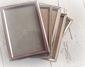 Vintage Brass Frames Mid Century Modern Picture Frames Bohemian Decor 3 x 5 Metal Frames