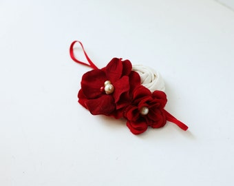 Kate -red and ivory christmas silk flower and rosette headband bow