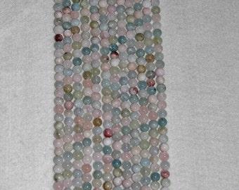 Beryl, Multicolor Beryl, Morganite, Semi Precious, Smooth Bead, Strand, 8mm