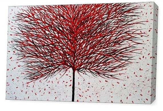 LE Deep Canvas Wrap Giclee Print of Original Painting Autumn Poetry Amber Elizabeth Lamoreaux Surreal Red Black White Tree Leaves Modern Art
