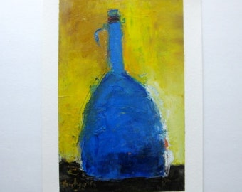 "Christmas gift for Father blue and yellow oil painting original oil Blue Bottle oil on paper 8,5""x13,5"" Traditional Ukrainian colors"