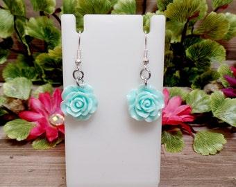 Blue Rose Earrings - Baby Blue Rose Earrings - Flower Earrings